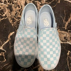 Baby Blue Checkered Vans- Size 8.5